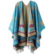 Women's Fashionable Retro Style Vintage Pattern Tassel Poncho Shawl Cape - Accessories - $23.80