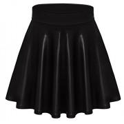 Womens Faux Leather Skater Skirt Short a Line Mini Skirt - Made in USA - Skirts - $19.99