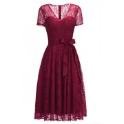 Women's Formal Short Sleeve V-Neck Knee Length Evening Party Lace Dress - Dresses - $29.99