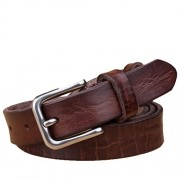 Women's Genuine Leather Belts Adjustable Textured Waist Belt with Pin Buckle - Belt - $33.00