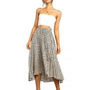 Womens High Waist Polka Dot Pleated Lightweight Midi Swing Skirts with Drawstring - My look - $12.99