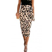 Womens Leopard Print Long Skirts Wrap Bodycon Career Office High Waist Tied Slit Midi Pencil Skirts - My look - $11.98