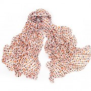 Womens Long Cotton Scarf Soft Light Weight White with SmallPolka Dots - Scarf - $18.00