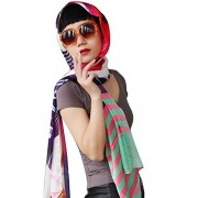 Womens Long Silk Scarf Cover Girl Silk-Cotton Scarf - Scarf - $63.00