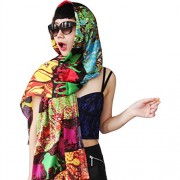 Womens Long Silk Scarf Forest Animals Pattern Scarf - Scarf - $63.00