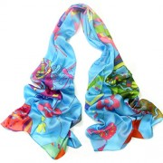 Womens Long Silk Scarf Pottery Vase Pattern Light Weight Extra Soft Scarf - Scarf - $63.00