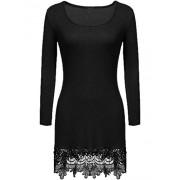 Women's Long Sleeve Lace Trim Short A-line Dress Casual Long Tunic top - Dresses - $9.99