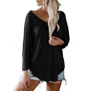 Womens Loose Drop Shoulder Tunic T-Shirts Sexy V Neck Long Sleeve Solid Casual Pullover Tops - My look - $12.99