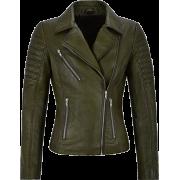 Womens Moto Biker's Style Olive Green Leather Jacket - Jacket - coats - 203.00€  ~ $236.35