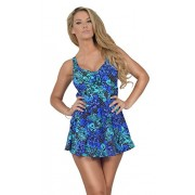 Womens One Piece V Neck Front Knot Slimming Control Printed Swimdress Swimsuit - Купальные костюмы - $28.98  ~ 24.89€