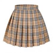Women`s Plaid Flared British high School Pleated Skirts (4XL,Yellow Mixed White) - Skirts -