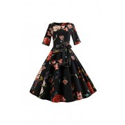 Women's Print High Waist Pleated Tea Party 1950s Vintage Swing Dress - Dresses - $22.65