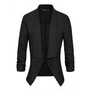 Women's Ruched Sleeve Lightweight Thin Chiffon Blazer - Suits - $16.98