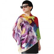 WomensSilk Scarf Long Rectangle Elephant Animal Print Light Weight Dress Scarf - Scarf - $63.00