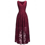 Women's Sleeveless Deep V-Neck Belted Knee Length Evening Party Lace Dress - Kleider - $35.99  ~ 30.91€