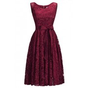 Women's Sleeveless V-Neck Belted Knee Length Evening Party Lace Dress - Dresses - $32.99