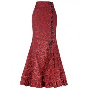 Women's Steampunk Victorian Mermaid Skirt High Waist Vintage Maxi Skirt - Skirts - $29.99