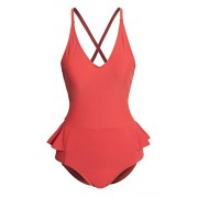 Women's V Neck Open Criss Cross Back Slimming Peplum One Piece Swimsuit - Купальные костюмы - $38.99  ~ 33.49€