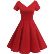 Women's V-Neck Retro Rockabilly Cocktail Dress 1950s Vintage Short Sleeve Evenin - Dresses - £29.99