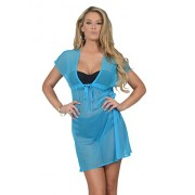 Womens V Neck Short Sleeve Sheer Mesh Boho Tunic Swimsuit Cover Up Beach Dress - Купальные костюмы - $29.99  ~ 25.76€