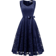 Women's Vintage Floral Lace Cocktail Prom Party Dress Elegant V-Neck Bridesmaid - Dresses - £24.99