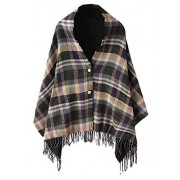 Women's Vintage Plaid Knitted Tassel Poncho Shawl Cape Button Cardigan - Accessories - $17.86