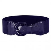 Women's Vintage Solid Color Wide Elastic Stretchy Retro Cinch Belt, Navy Blue, Medium - Flats - $3.99