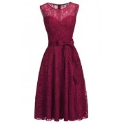 Women's Wedding Guest Party Dress Burgundy Cocktail Lace Dress - Kleider - $29.99  ~ 25.76€