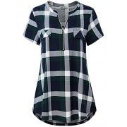 Women's Zip V Neck Short Sleeve/Sleeveless Casual Blouse Tunic Shirt - Srajce - kratke - $19.99  ~ 17.17€