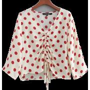 Wrinkle V-Neck Long Sleeve Red Wave Dot - Shirts - $25.99
