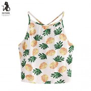 YANG-YI Clearance, Hot Summer Women Pineapple Print Tank Top Short Halter T-Shirt - Top - $3.57