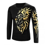 YANG-YI Men Fashion Casual Printing Long-sleeved T-shirt O-Neck Top - 长袖衫/女式衬衫 - $6.45  ~ ¥43.22