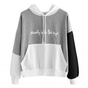 YANG-YI Womens Letters Long Sleeve Hoodie Sweatshirt Hooded Pullover Tops Casual Thin Blouse - 长袖衫/女式衬衫 - $7.35  ~ ¥49.25