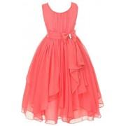 YMING Big Girl Kids Sleeveless Asymmetric Chiffon Flower Party Wedding Bridesmaid Dress - Dresses - $29.99