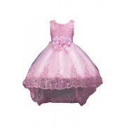 YMING Girls Hi Low Princess Dress Floral Bow Knot Back Sequin Hem Maxi Dress - Dresses - $33.99