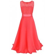 YMING Girls Lace Party Dress Sleeveless Chiffon Wedding Long Dress - Haljine - $32.99  ~ 28.33€