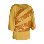 YMING Women's Summer Casual Blouse Short Sleeve Shirt Plus Size Sequin Cold Shoulder Top - Shirts - $28.99