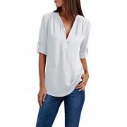 YMING Women's Zipper Blouse Chiffon Casual Summer Shirt V Neck Top - My look - $20.99