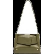 YUZEFI,Green Biggy leather tote - Messaggero borse -