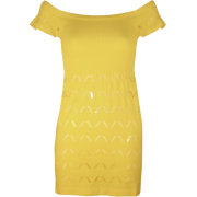 Yellow Seamless Dress Cut Out Bottom Pattern Ribbed Top - 连衣裙 - $10.90  ~ ¥73.03