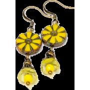 Yellow Flower Glass Bead Earrings - Earrings - $17.00