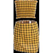 Yellow Plaid Short Skirt Set - Jaquetas - $27.99  ~ 24.04€