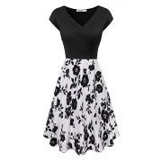 Yeslife Women's V-Neck Cap Sleeve Summer Casual Midi Dress - Dresses - $49.99