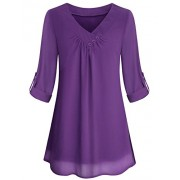 Yidarton Women Chiffon Blouses Roll-up Long Sleeve Top Casual V Neck Layered Tunic Shirt - Srajce - kratke - $13.99  ~ 12.02€