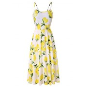 Yidarton Women Summer Sleeveless Adjustable Strappy Floral Flared Swing Dress - Obleke - $11.99  ~ 10.30€