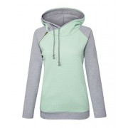 Yidarton Women's Hoodie Sweatshirt Long Sleeve Color Block Tops Pullover Sweatshirt - Srajce - dolge - $8.99  ~ 7.72€