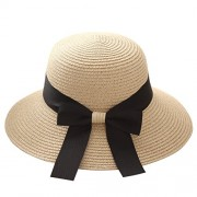 Yidarton Women's Summer UPF50 Foldable Straw Wide Brim Bucket Fedora Sun Beach Hat - Klobuki - $9.99  ~ 8.58€