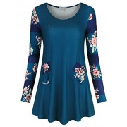 Youtalia Long Sleeve Tunic Tops For Women Floral Printed Scoop Neck Blouse Shirt - Shirts - $39.99