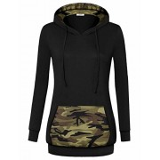 Youtalia Women Cotton Hooded Long Sleeve Sweatshirt Camo Kangaroo Pocket Hoodie - Shirts - $39.99