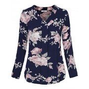 Youtalia Womens 3/4 Cuffed Sleeve Chiffon Printed V Neck Casual Blouse Shirt Tops - Shirts - $39.99